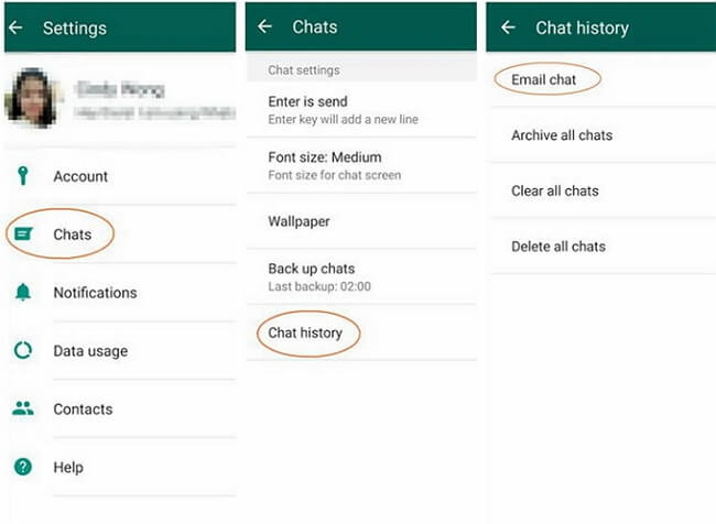 transfer whatsapp via email