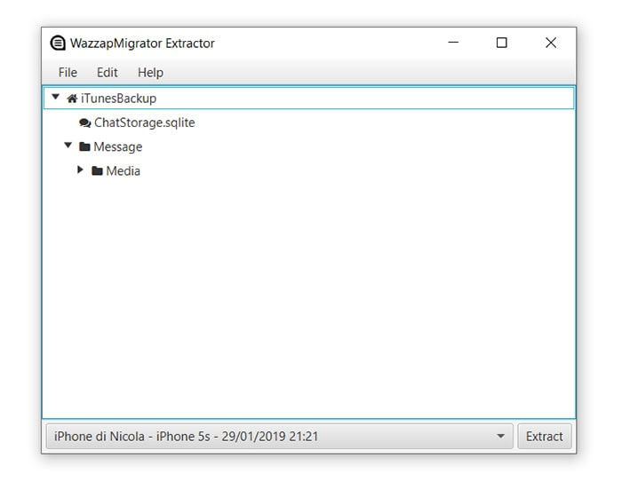 transfer iphone backup files from wazzapmigrator extractor