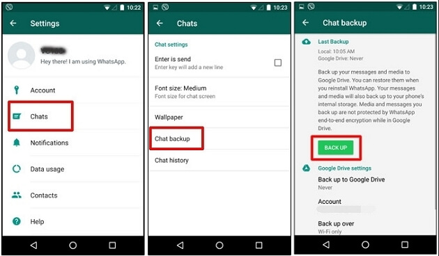 whatsapp chats backup