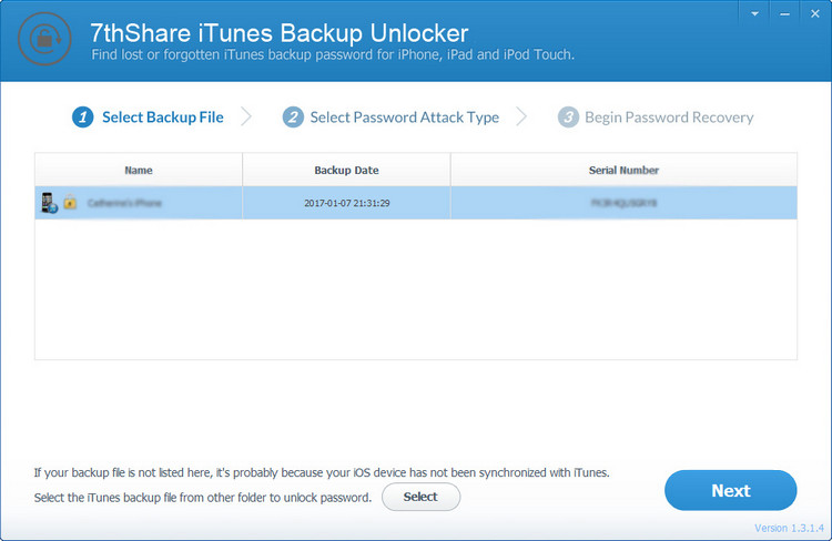 7thShare iTunes Backup Unlocker
