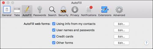 autofill on mac
