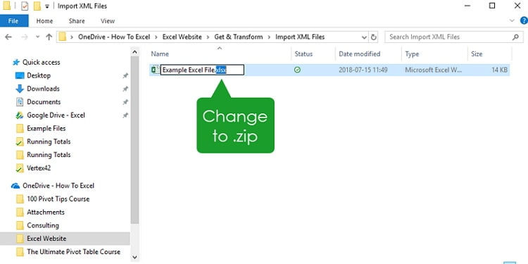 change excel name to zip