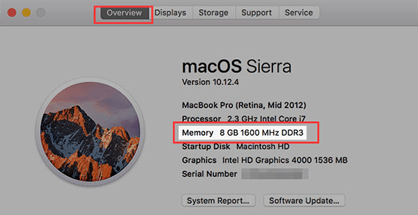 check ram on mac