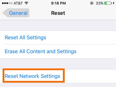 check reset network settings