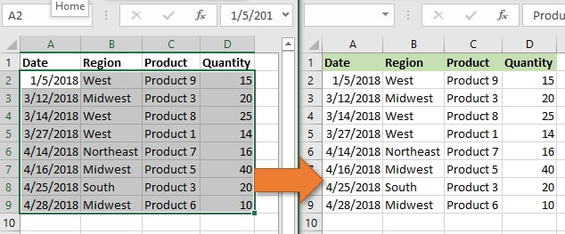 copy and paste excel