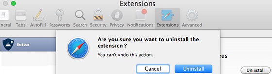 delete safari extensions mac