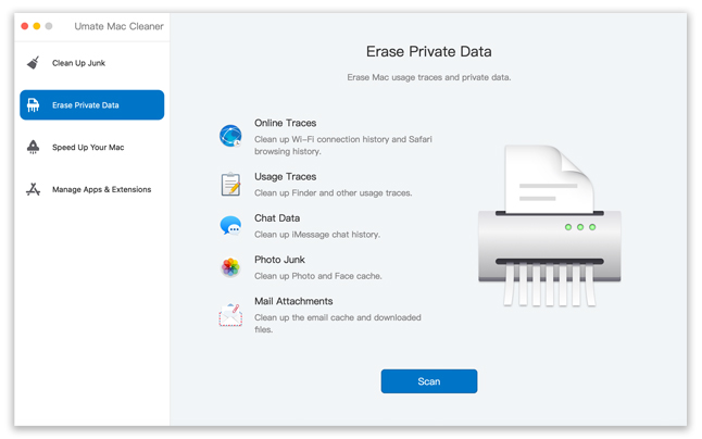 erase private data choose