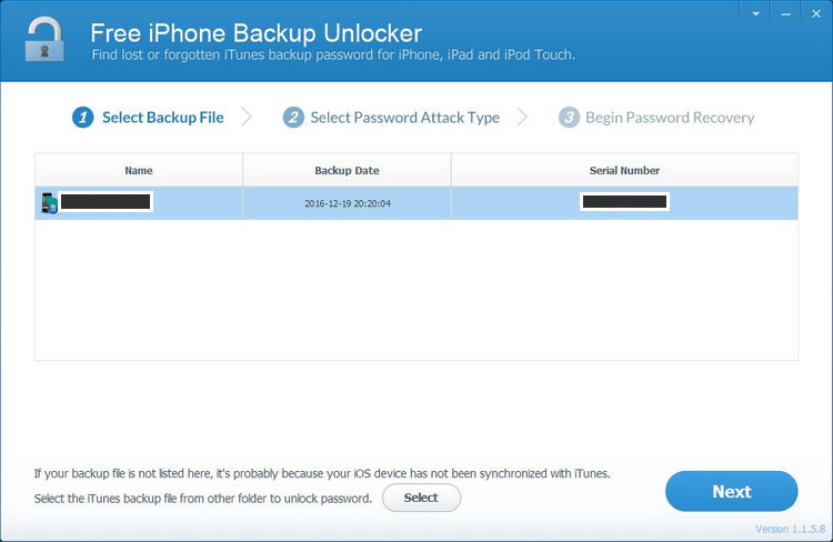 Free iPhone Backup Unlocker