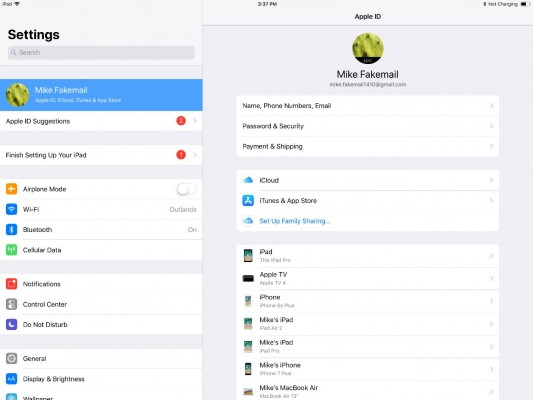 apple id on ipad
