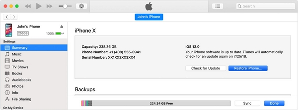 restore with itunes