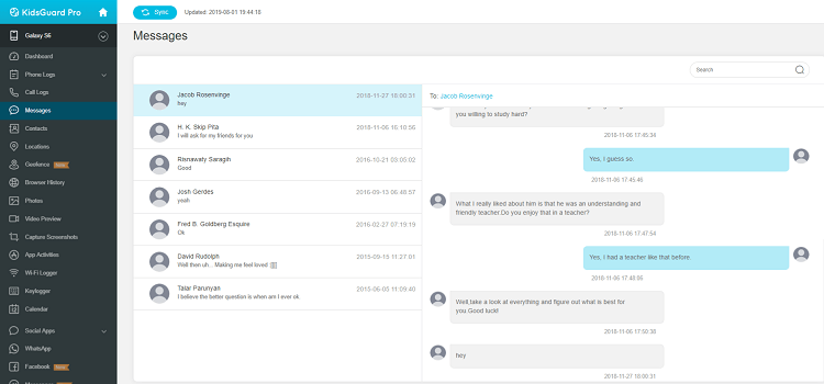 read messages from kidsguard pro dashboard