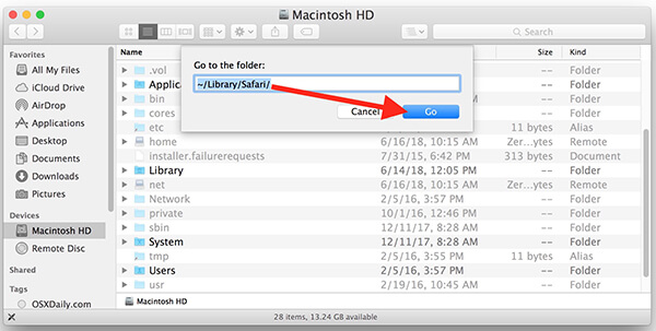 locate safari history mac