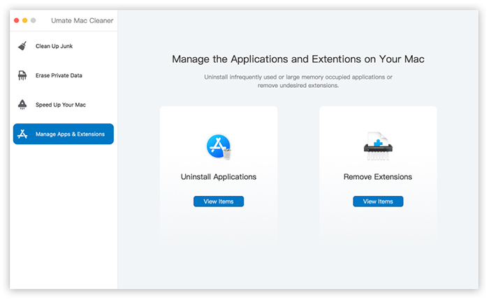 manage apps extensions umate