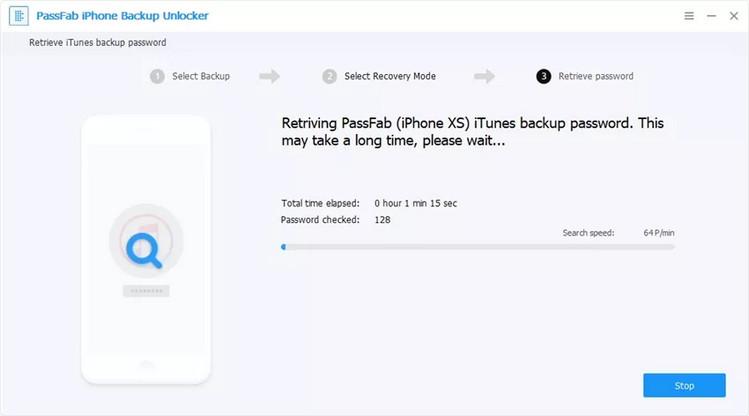 PassFab iPhone Backup Unlock Software retrieving passcode
