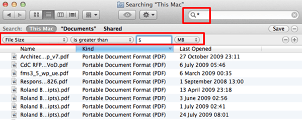 remove large files on mac