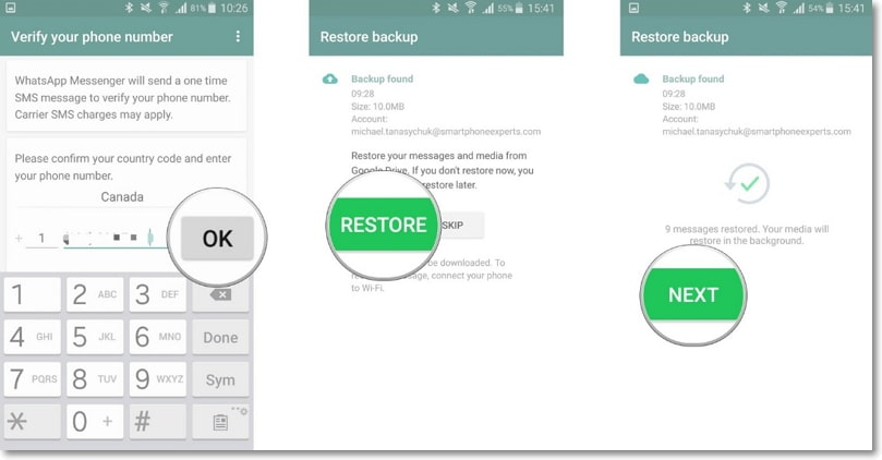 restore whatsapp backup from google drive to android