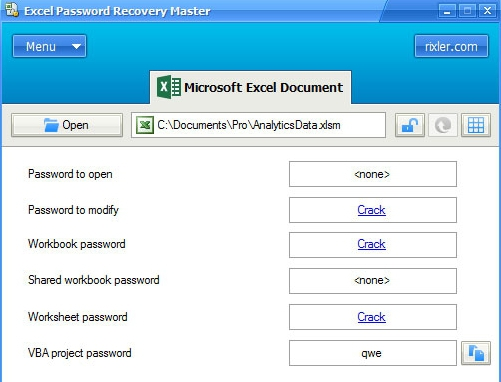 rixlet excel password recovery master