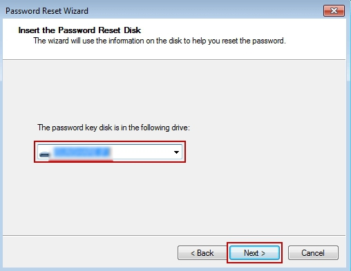 select password reset disk
