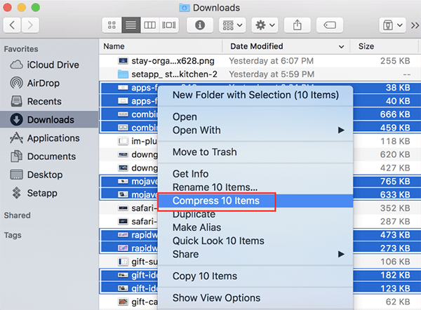compress large files on mac