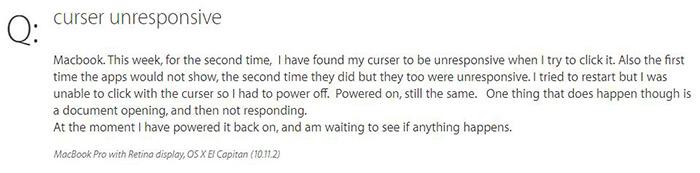 curser not respond on mac