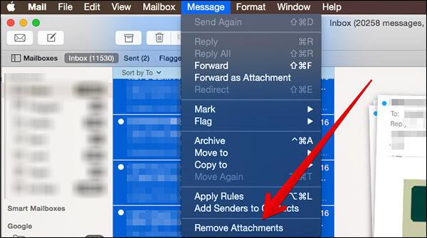 delete multiple attachments on mac