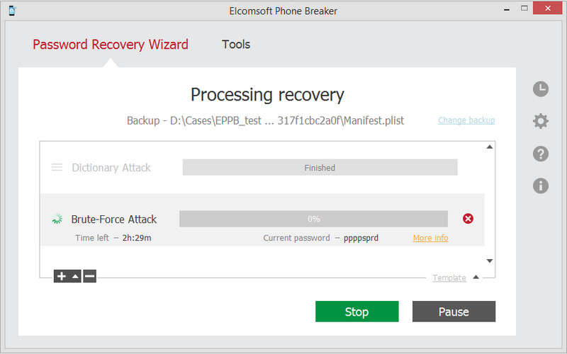 Elcomsoft iTunes Backup Password Breaker