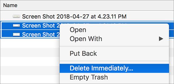 finder delete immediately
