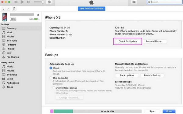 update your device to the latest version via iTunes