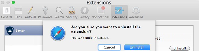 remove extensions on mac
