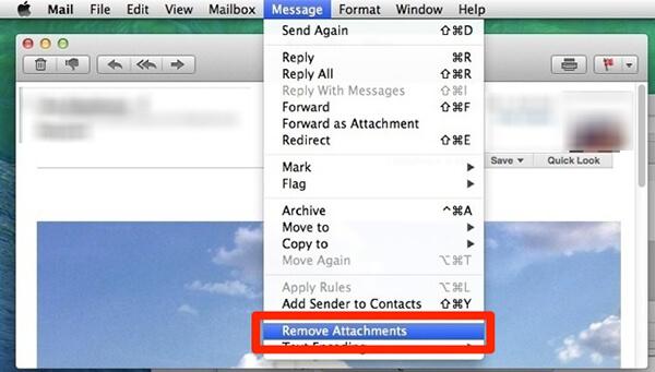 remove single attachments on mac