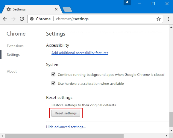 reset browser settings