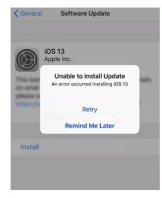 unable to install ios 13