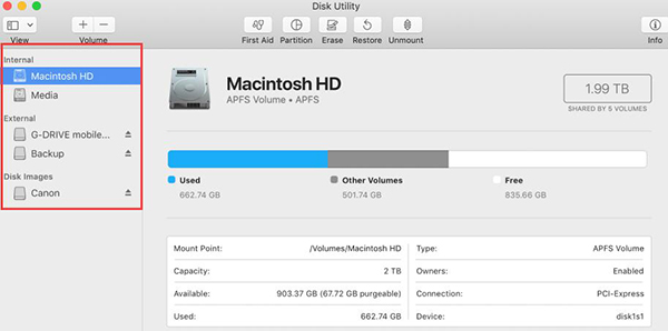 use disk utility check hard drive on mac