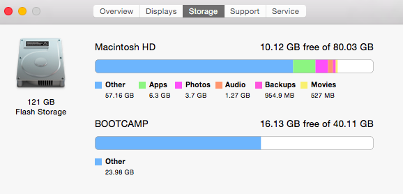 what is filling up storage on mac