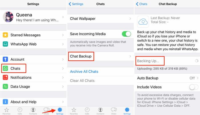 backup whatsapp to icloud