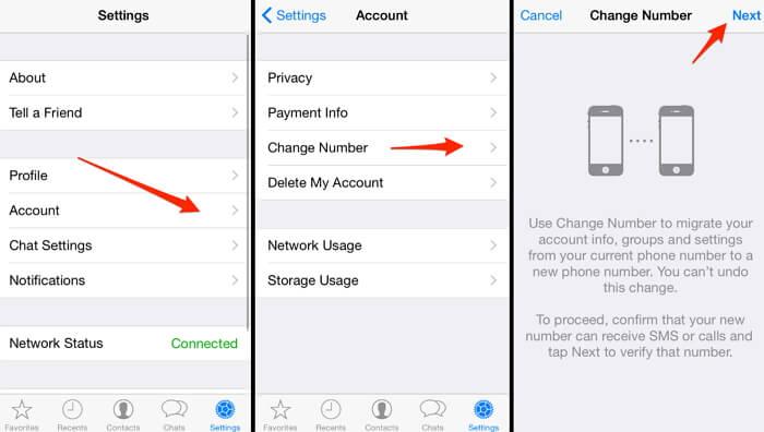 change phone number whatsapp