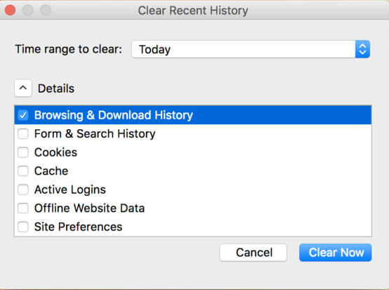 clear firefox search history