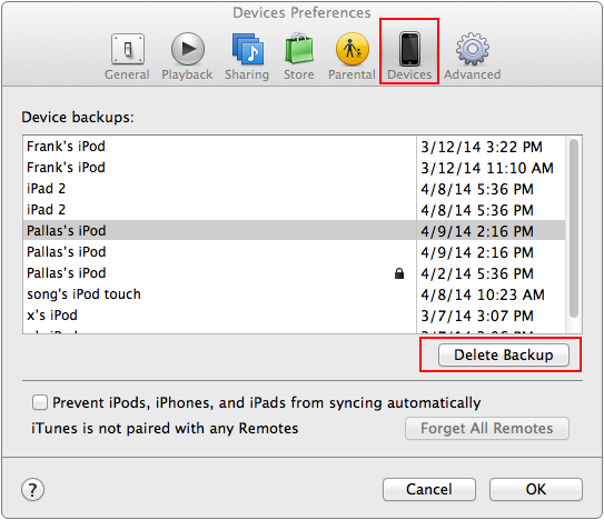 delete itunes backups on mac