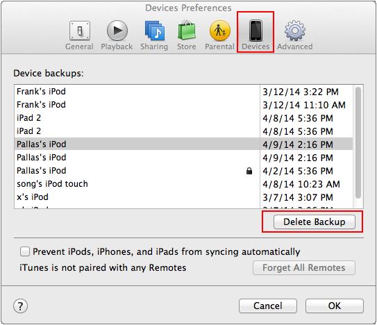 delete itunes backups on mac