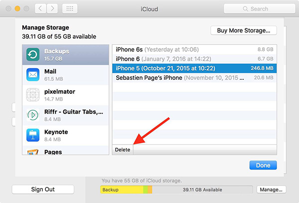 delete icloud backup on mac