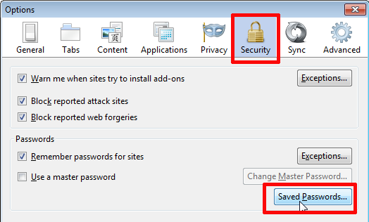 delete saved passwords in firefox