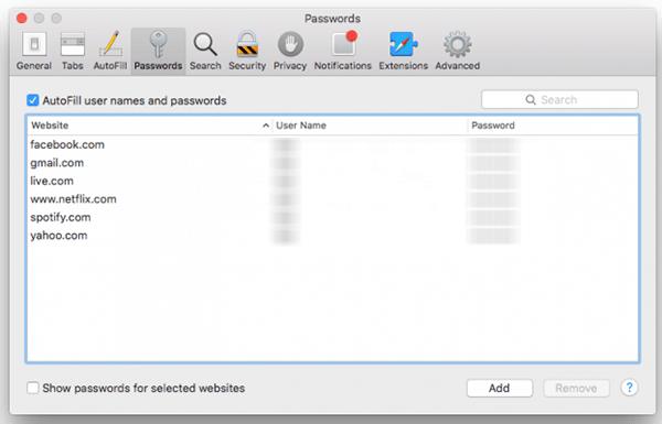 delete saved passwords in safari
