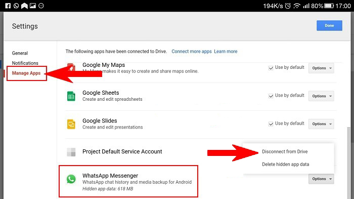disconnect google drive with your whatsapp account