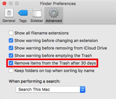 empty trash after 30 days on mac