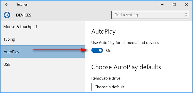 Enable AutoPlay in Windows 10