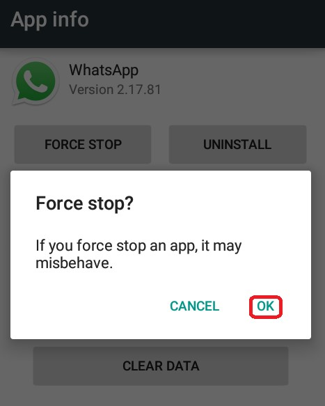 force quit whatsapp