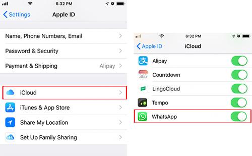 turn off icloud backup for whatsapp