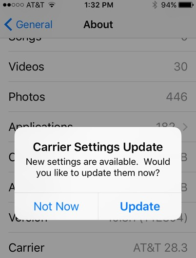 ios 13 carrier setting update