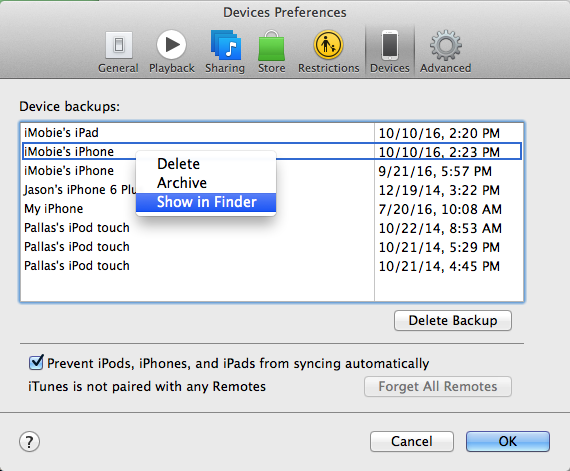 iphone backup in itunes on mac