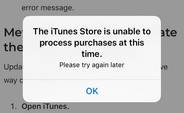itunes error unable to process purchases